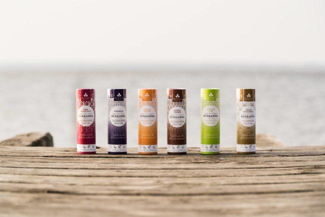 BEN & ANNA přírodní krémové veganské deodoranty v papírových obalech