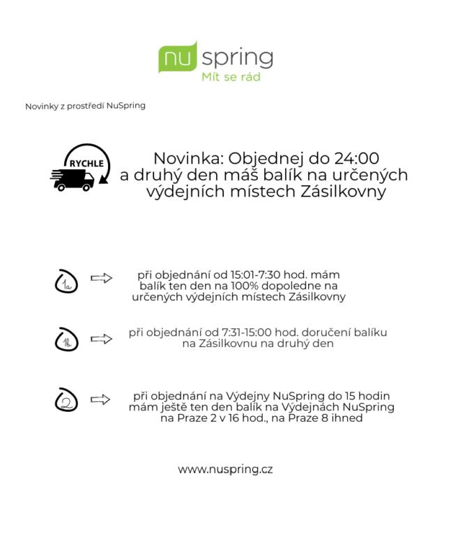 Novinka v NuSpring: Objednej do 24:00 a druhý den máš balík na vybraných místech Zásilkovny
